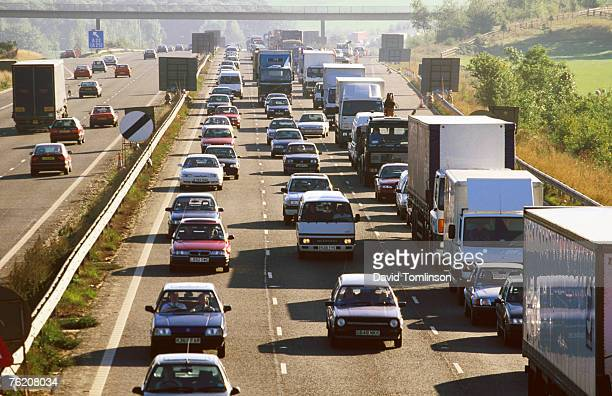 Traffic congestion on the M25 motorway, Surrey, England, United Kingdom, Europe