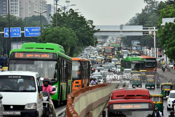 Traffic congestion seen at AIIMS flyover on September 24 2018 in New Delhi India The continuous downpour throughout the day leads to a drop in the...
