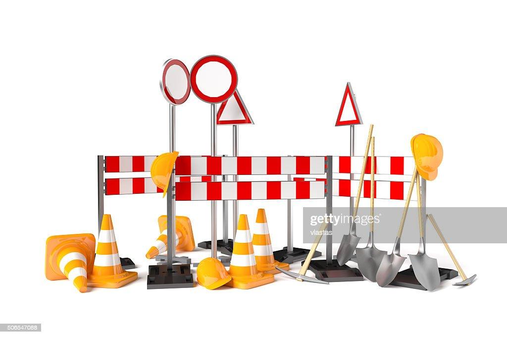 Traffic Construction Symbols Isolated On The White Stock Photo