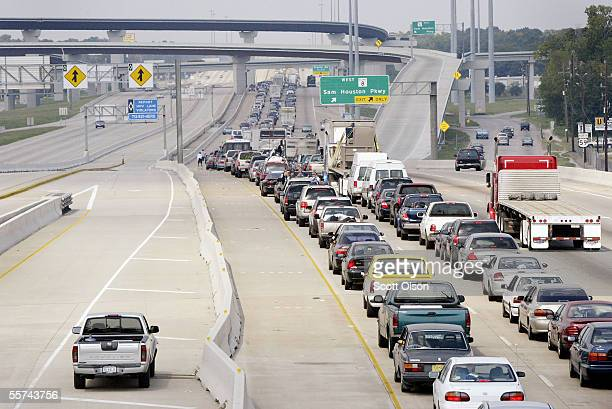Traffic crawls along highway 59 northbound as residents try to flee in front of Hurricane Rita September 22 2005 in Houston Texas Hurricane Rita is...