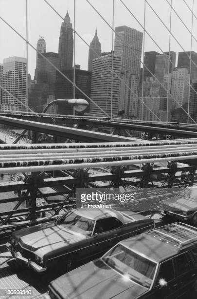Traffic crosses the Brooklyn Bridge New York City 1981