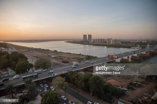 Traffic crosses the El Mek Nimr Bridge over the Blue Nile on January 28, 2021 in Khartoum, Sudan.