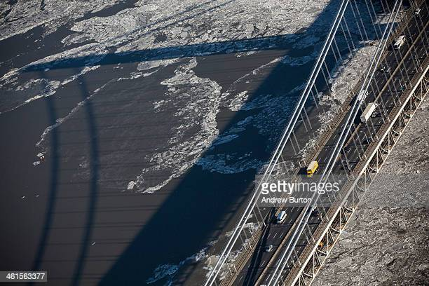 Traffic drives across the George Washington Bridge which connects Fort Lee NJ and New York City on January 9 2014 in Fort Lee New Jersey New Jersey...