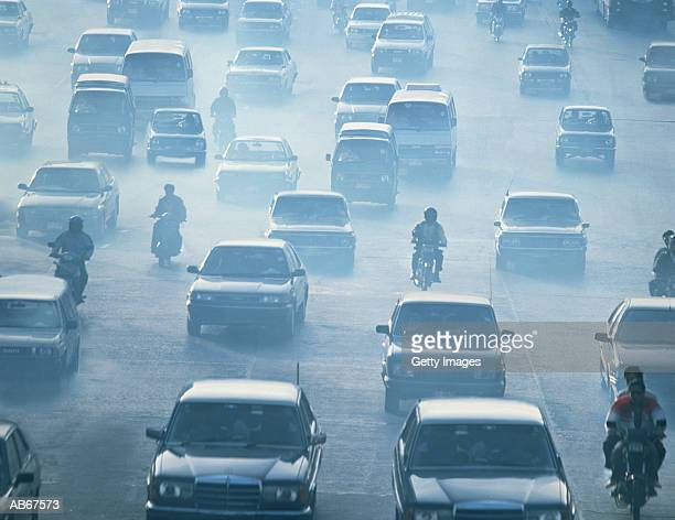 Traffic driving in pollution, Bankok, Thailand
