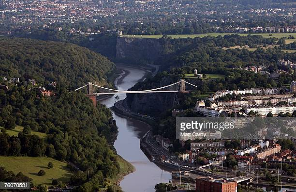 Traffic driving under Brunel's Clifton Suspension Bridge is seen from a hot air balloon during the early morning mass ascent at the Discovery Channel...
