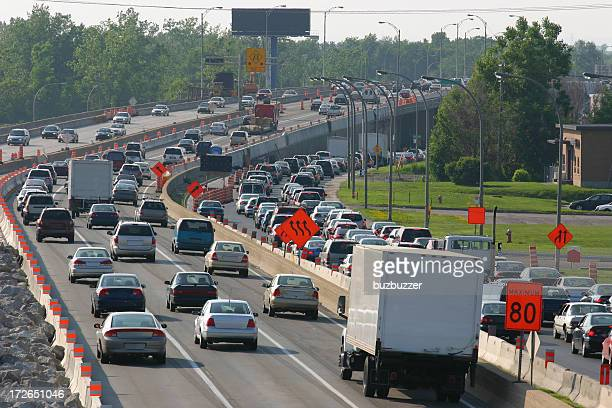 Traffic during rush hour on a highway under construction