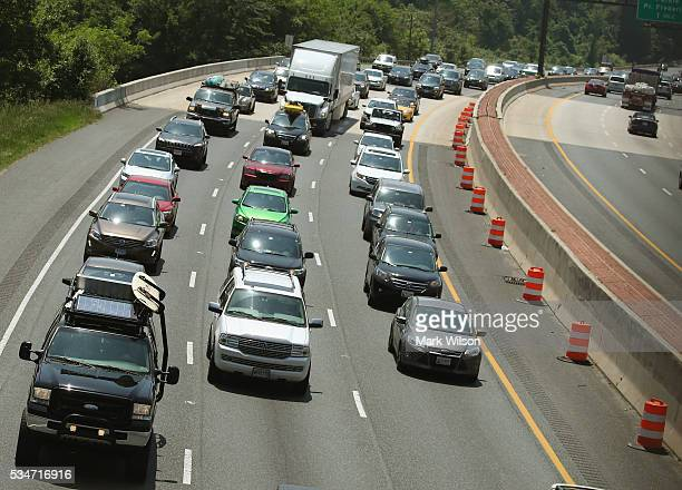 Traffic eastbound on Rt 50 moves at slow pace toward the Chesapeake Bay Bridge May 27 2016 in Annapolis Maryland Area traffic is expected to be heavy...