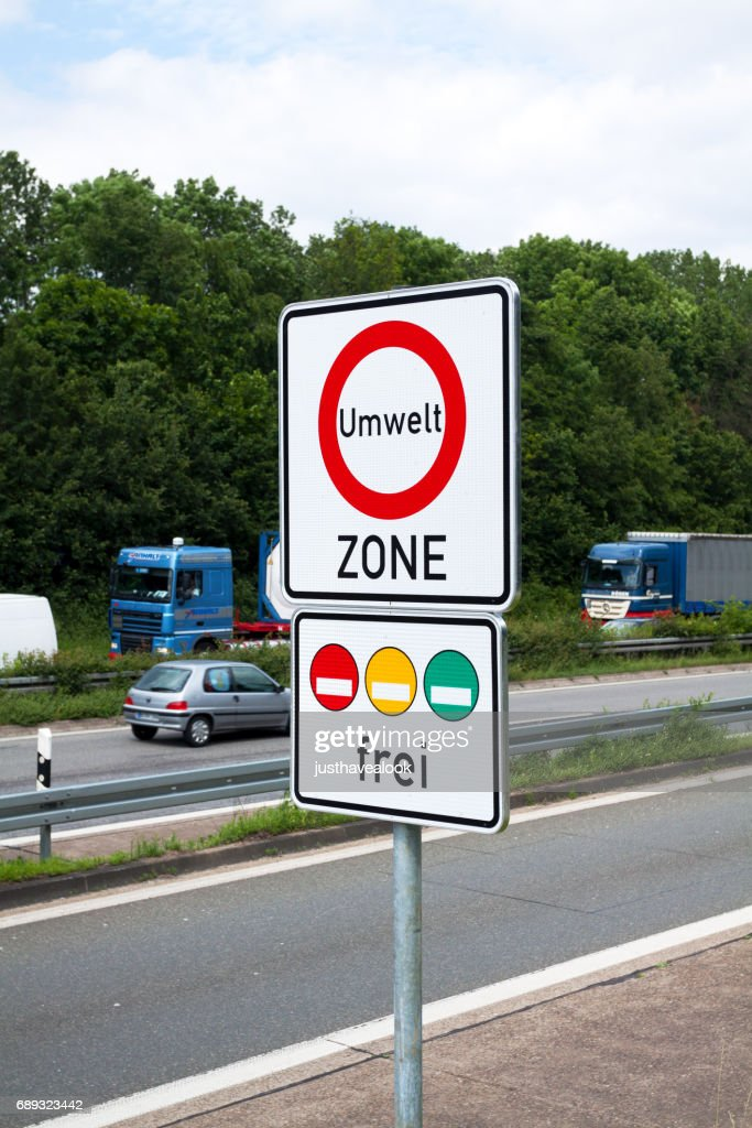 Traffic environement sign in Germany : Stock Photo