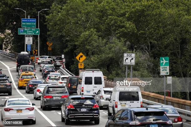 Traffic exits the Brooklyn Bridge and moves toward the BrooklynQueens Expressway August 2 2018 in New York City On Thursday the Trump administration...