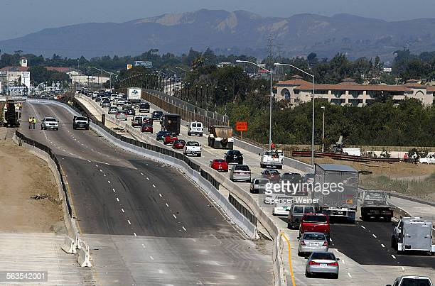 Traffic fills newly opened portion of freeway new northbound section of the 101 freeway at Santa Clara River bridgeright the Northbound portion...