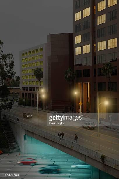 Traffic Flowing under Buildings at Night