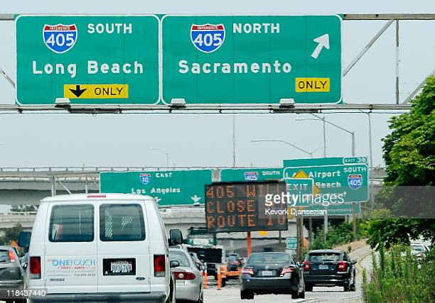 Traffic flows on Interstate 10 and Interstate 405 one week before the 11 mile shut down of Interstate 405 for the demolition of a bridge for 53 hours...