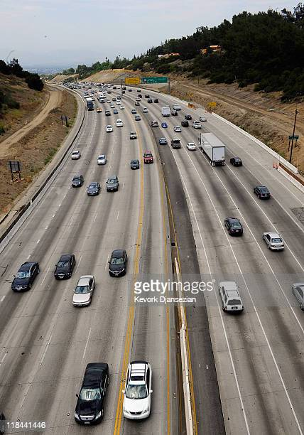 Traffic flows on Interstate 405 which is slated to be demolished during the 11 miles shut down of Interstate 405 on July 7 2011 in Los Angeles...