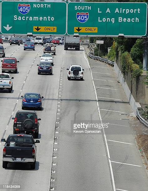 Traffic flows on Santa Monica Freeway Interstate 10 near the Interstate 405 one week before the 11 miles of Interstate 405 shut down for the...