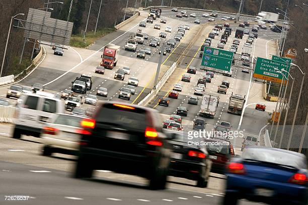 Traffic flows over the American Legion Bridge along I495 the Capitol Beltway on the day before the Thanksgiving holiday November 22 2006 between...