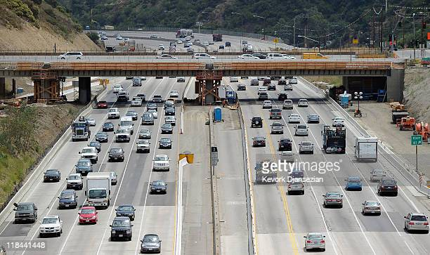 Traffic flows under the Skirball Bridge on Interstate 405 which is slated to be demolished during the 11 miles shut down of Interstate 405 on July 7...