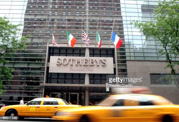 Traffic flows up York Avenue past Sotheby's June 10 2004 in New York City Property from the estate of the late actress Katharine Hepburn is being...