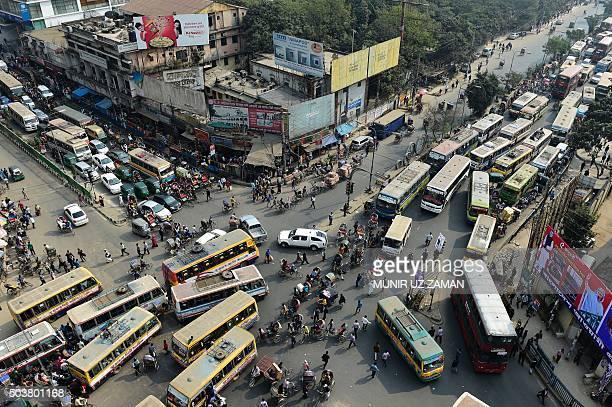 Traffic gathers at an intersection in Dhaka on January 7 during a nationwide strike called by the JamaateIslami in protest against the death sentence...