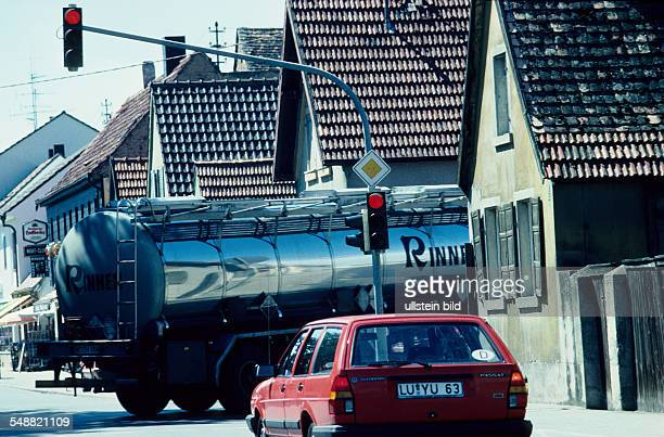 truck with hazardous materials are carried through a tight village road in Maxdorf