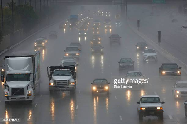 Traffic has been snarled across the area as the big storm hits in what is predicted to be a strong El Nino event in Southern California The 57 south...