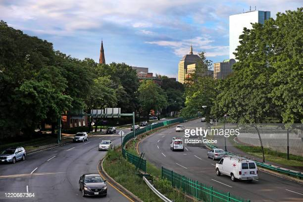 Traffic heading east and west on Storrow Drive in Boston around 7am on June 12, 2020. There are more cars on the road since phase two of...