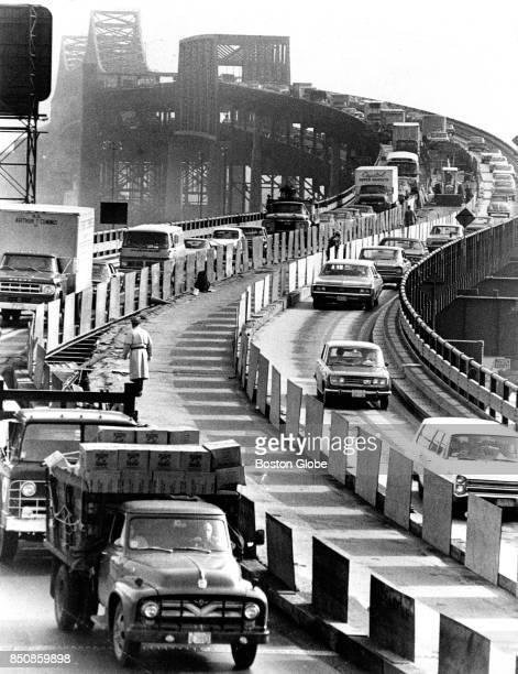 Traffic heads southbound on the Tobin Bridge in Boston on Apr 28 1970