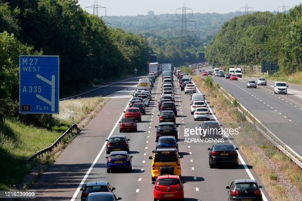 Traffic heads westward along the M3 near Eastleigh, Hampshire on May 30 as lockdown measures are eased during the novel coronavirus COVID-19...