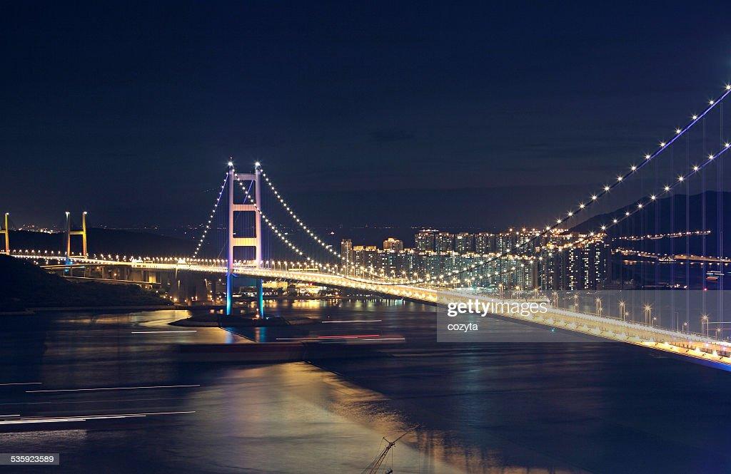 Traffic highway bridge at night : Stock Photo