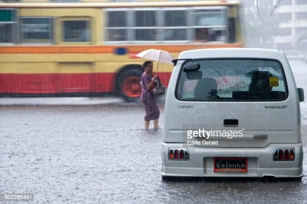 Traffic in a flooded area in Yangon due to abundant rainfall Myanmar