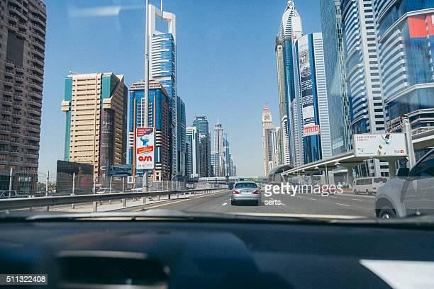 Traffic in Business Bay in Dubai, UAE