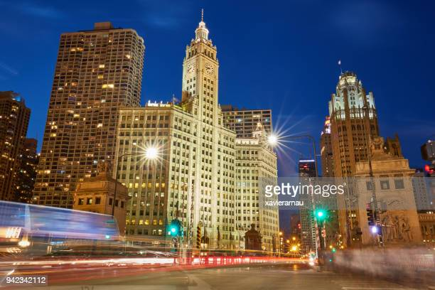 traffic in chicago at dusk - wacker drive stock photos and pictures
