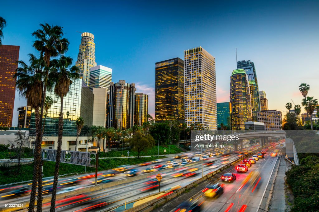 Traffic in downtown Los Angeles, California : Stock Photo