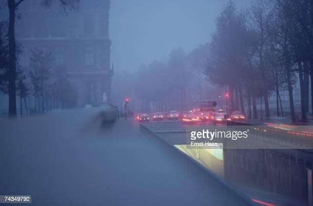 Traffic in heavy rain Paris 1979