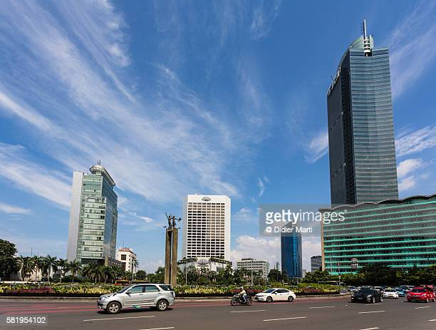 Traffic in Jakarta business district in Indonesia capital city