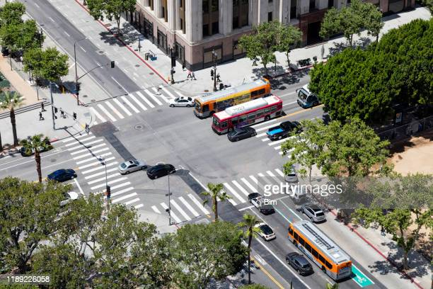 traffic in los angeles, aerial view - road junction stock pictures, royalty-free photos & images
