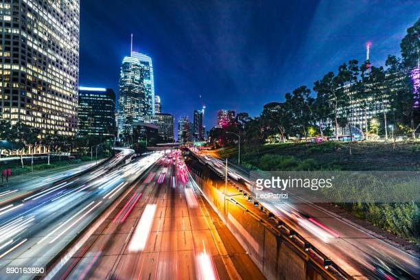 Traffic in Los Angeles Downtown at night