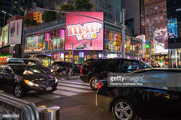 Traffic in New York Times Square night scenes The tourist landmark is visited by about 50 million tourists every year and is famous for counting down...