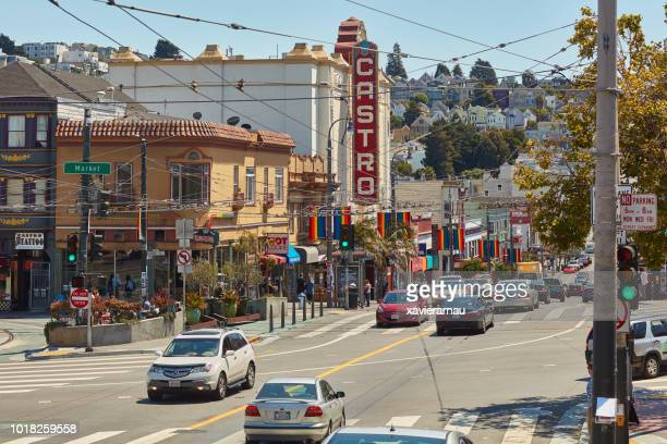 traffic in san francisco castro district - castro district stock pictures, royalty-free photos & images