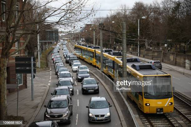 Traffic in Stuttgart Germany on 9 February 2019 For the fourth week in a row citizens of Stuttgart have protested against the driving ban on the old...