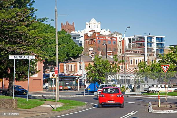 Traffic in the city center of Newcastle, New South Wales, Australia.