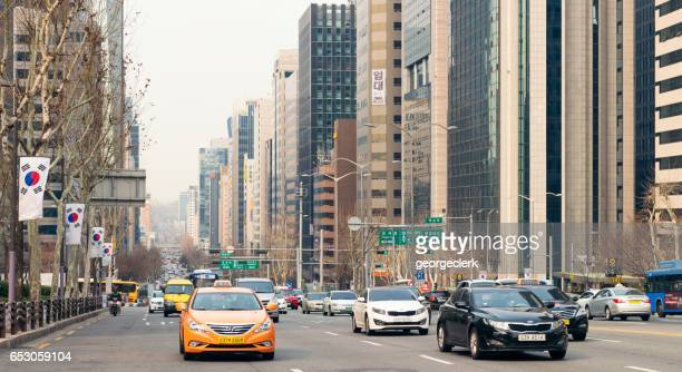 Traffic in the Gangnam district of Seoul, South Korea
