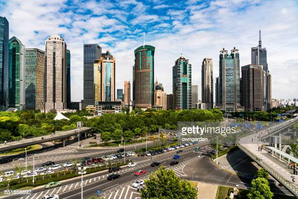 traffic in the lujiazui financial district,shanghai,china - lujiazui stock photos and pictures