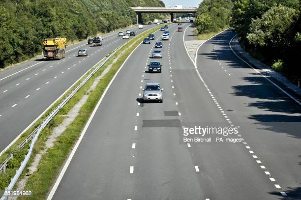 Traffic in the middle lane of the M5 Motorway near Bridgend Wales