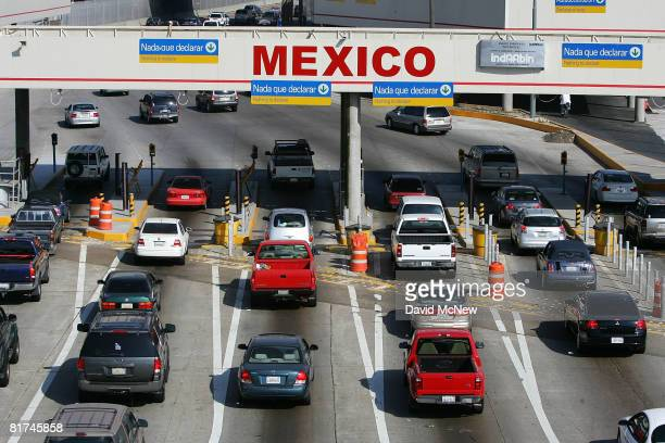 Traffic in the US enters Mexico at the San Ysidro border crossing the world's busiest on June 27 2008 in Tijuana Mexico With the cost of gasoline in...