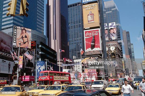 traffic in times square - gipstein stock pictures, royalty-free photos & images