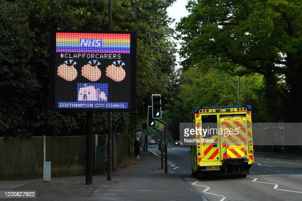 A traffic information sign shows support for the 'clap for carers' campaign with a sign saying 'NHS CLAP FOR CARERS' on April 23 2020 in Southampton...
