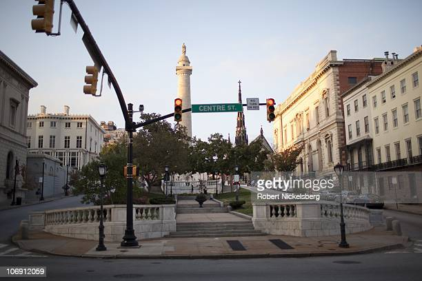 Traffic intersection in Baltimore, Maryland's Mount Vernon neighborhood sits below the city's famous Peabody Institute School of Music October 21,...
