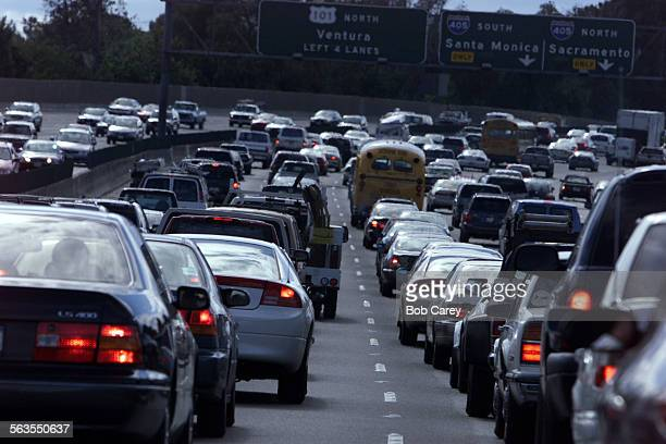 Traffic is backed up at rush hour on the westbound 101 freeway by Van Nuys Blvd and the 405 interchange Caltrans plans to widen the freeway with two...
