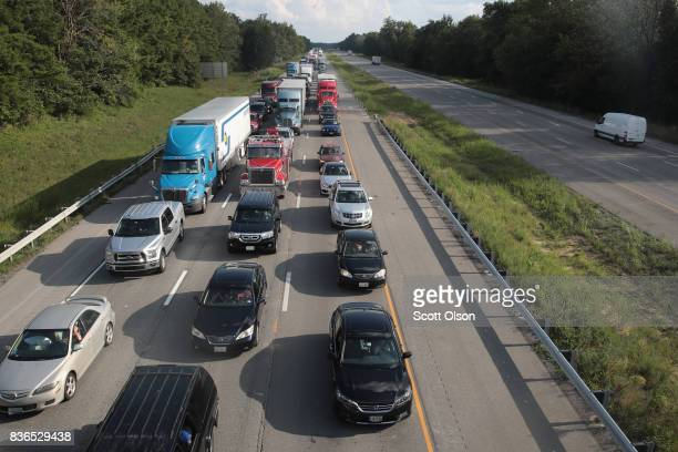 Traffic is backed up in the northbound lanes of Interstate 57 following the solar eclipse on August 21 2017 near Johnston Illinois With approximately...