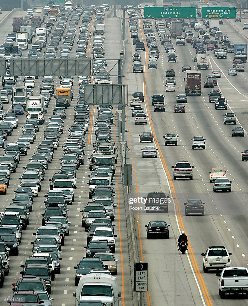 Traffic is jammed on Southbound Interstate 405 in the aftermath of